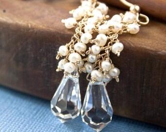 Wedding Earrings, Pearl Earrings, Swarovski Crystal, Bridal Earrings