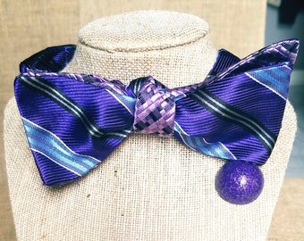 1 of a kind handmade reversible cloth bow tie (Self Tied)