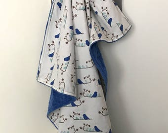 blue baby blanket for car or stroller blanket, quilt