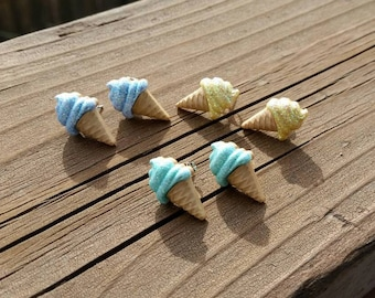 Blue, Yello, or Green Ice Cream Cone repurosed button plastic charm Post Earrings - Handmade - Glitter Ice Cream Swirl