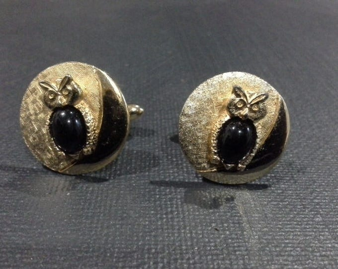 Rare Vintage Mid Century Swank Cufflinks Cuff Links Buttons Gold Owl on Full Crescent Moon Faux Onyx Cabochon Body c 1950's