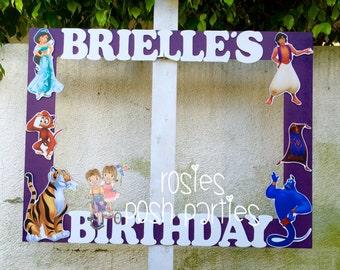 Princess Aladdin frame photo booth birthday party photo booth or photo prop decoration Ariel Jafar Abu Genie Princess Jasmine Birthday