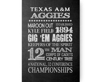 Texas A&M Aggies Chalkboard Digital Download