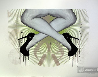 High Heels | Shoes | Legs | Limited Edition | hand pulled screen printed art | Erotic - 'Straight/heels II'  | straight razor | insects