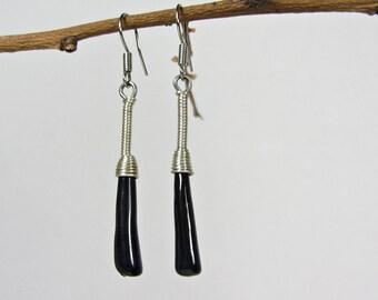 Black Long Earrings Handmade, Ceramic Dangle Earrings, Lightweight Earrings for Women, Ceramic Jewelry Handmade