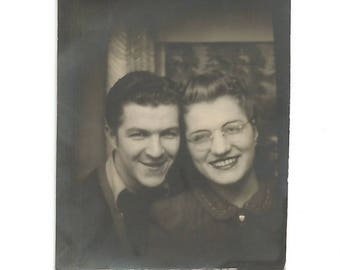 "Vintage Snapshot ""Elmer & Mary""  Happy Couple Rimless Eyeglasses Dark Red Lipstick Photobooth Found Vernacular Photo"