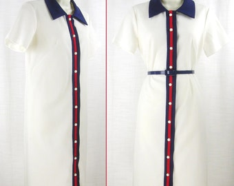 VTG 60s-70s White with Red & Blue accents MOD poly Shift Short-sleeve Dress  sz 14/L