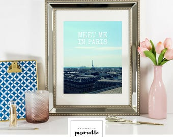 Meet me in Paris wall decor art printable