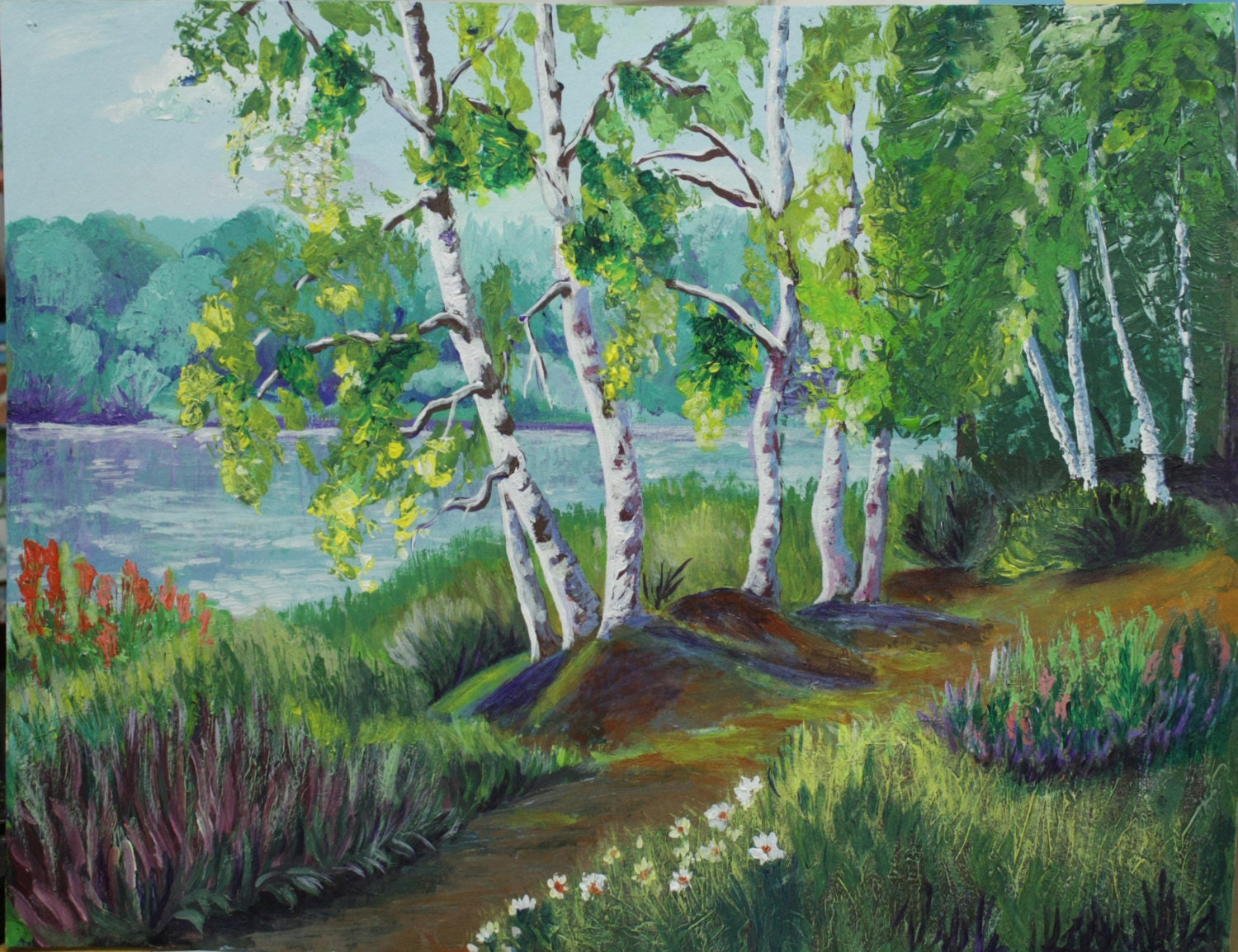 Acrylic Painting Canvas Art Birches On The Lake Russian Forest