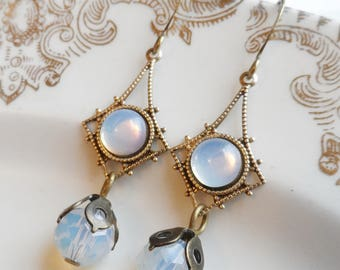 75% Off Clearance Sale, White Moon-glow, Iridescent, Vintage Glass Earrings