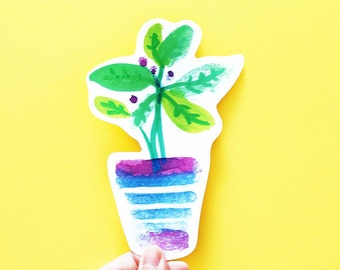 SALE Plant Big Individual WATERPROOF Sticker - Vinyl Stickers -Hand Drawn Sticker - Handmade Sticker