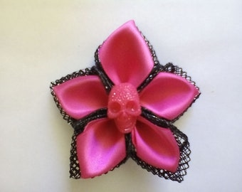 Ribbon Flower with Skull Brooch
