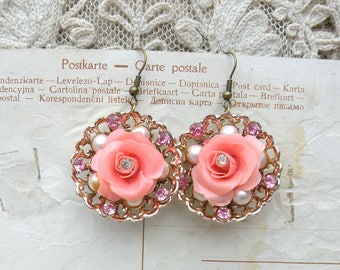 romantic earrings pink roses assemblage upcycled vintage jewelry cottage chic feminine