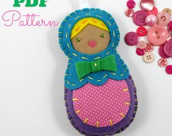 Nesting Doll Ornament. Digital Sewing Pattern. PDF Pattern. Beginner Tutorial. Matryoshka Doll. Babushka. Christmas Felt Ornaments. Cute.