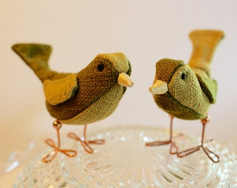 Bird Cake Topper Green and Sage Wedding Cake Topper Birds: Fabric Bird Cake Topper in moss and sage green fabrics for weddings love birds