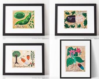 Set of 4 Prints, Pill Portraits Art Print Set, Series of Four Illustrations, Psychiatry, Drugs, Medical Art, Pharmacist, Psychiatrist Gift