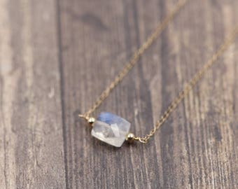 Rectangle Rainbow Moonstone Necklace 14k Solid Gold - Delicate necklace - Dainty necklace