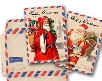 VINTAGE AIRMAIL PRINTABLE Two Christmas Cards and Envelope Vintage Santa Easy to print Magentabelle download 129
