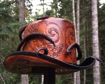 Leather steampunk Octopus Top hat