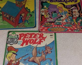 3 Peter Pan 45 Records Peter Wolf,Alice in Wonderland,I'm a little Red Schoolhouse
