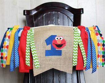 Primary Color High Chair Banner, Elmo Birthday Banner, First Birthday Ribbon Garland