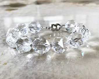 Ultra Sparkly AAA Star Faceted Clear Rock Crystal Quartz 14mm Beaded Bracelet with Magnetic Clasp