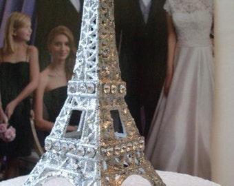 Paris Glamour Glitter Eiffel Tower Cake Topper Ornament Gift Shower  5 1/2 inches tall  Newburystreetchic  We Ship Internationally