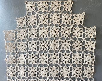 Vintage Crocheted Dresser Scarf, Runner, Ecru
