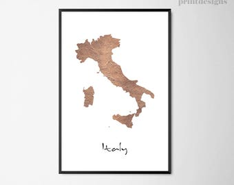 Printable Italy Map, Italy Poster, Copper Map Print, Modern Map Art, Minimalist Italy Poster, Digital Print, Modern Italy Art Print
