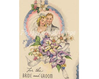 Wedding 26 a Beautiful Bride and Groom with Orchids a Digital Image from Vintage Greeting Cards - Instant Download