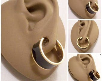 Monet Black Hoops Pierced Post Stud Earrings Gold Tone Wide Enamel Smooth Band Striped Edge Ring Dangles
