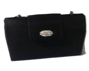 Black Fabric Talbots Purse with Rhinestones