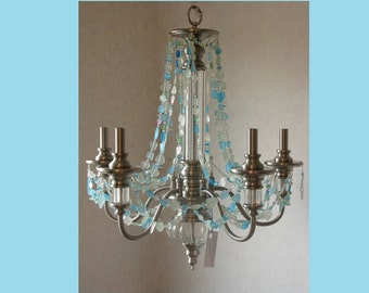 Sea Glass Chandelier Coastal Ceiling Fixture 5 Light Seashore Beach Decor model *Sabine Pass*