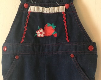 70s Vintage Girls 2T Health-Tex Strawberry Denim Overalls