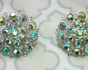 Vintage Silver Tone Green Aurora Borealis Rhinestone Clip On Earrings