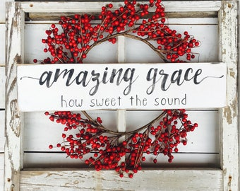 Amazing grace how sweet the sound, hymnal wall art, bible verse, farmhouse style, Christian home , shelf decor, love sign