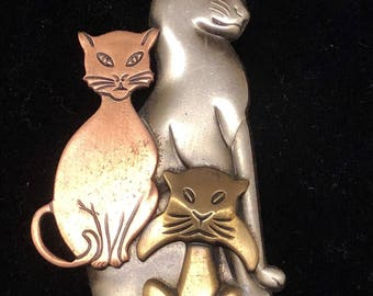 Vintage Kitty Cat Trio Brooch Pin Copper Silver Gold Tone