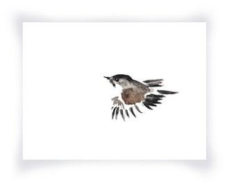 Sparrow Minimalist Watercolor Print, Little Sparrow Watercolor, Bird Watercolor Print, Black White Brown Minimalist Watercolor Bird Print