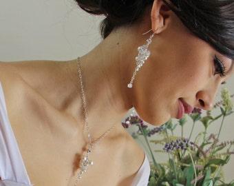 Crystal necklace, pearl wedding jewellery, wedding necklace, bridal jewelry, cluster necklace, beaded necklace, CZ, Cubic Zirconia. JESSICA