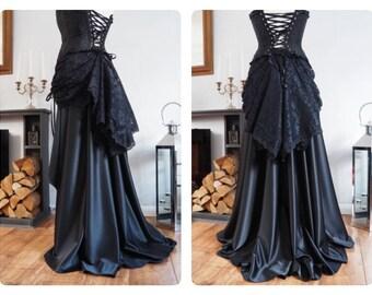 Black Long Skirt & Lace Bustle - Victorian Steampunk Goth Train Full Floor Length Trailing Asymmetrical drapery wedding bridal quality maxi