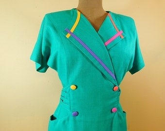 Vintage 1980s turquoise linen sheath dress  color block  fitted dress