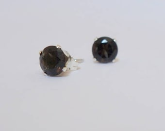 Small Smokey Quartz Stud Earrings, Sterling Silver, Gemstone Jewelry, 6mm