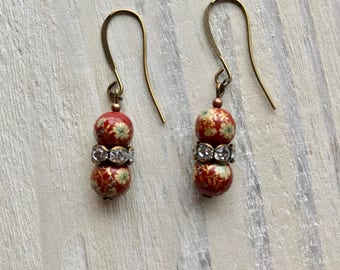 Vintage Japanese Glass Bead Earrings Red Floral Gold Flowers Antique
