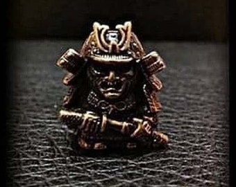 Samurai Solid Bronze Bead Paracord Leather Knife Lanyard Bead metal pendant