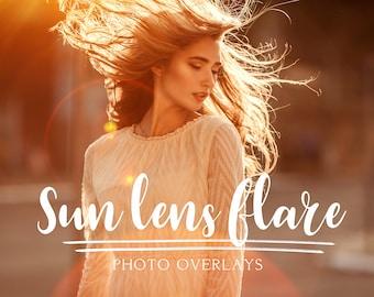 60 Sun Lens Flare Photoshop Overlays, Sun beams and streaks, light overlay, sun overlay, sun flare overlay