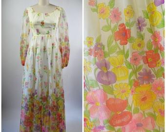 1970s Maxi Dress Size Small Floral Hippie Dress Sheer Flower Print White and Pink and Yellow Long Sheer Bishop Sleeves