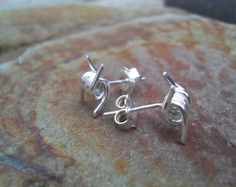 Sterling silver barbed wire stud earrings