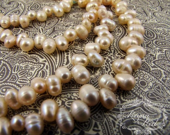 Creamy Peach TopDrilled Freshwater Pearl Beads, peach pearls, potato pearls, top drilled beads, bridal, jewelry making - reynaredsupplies