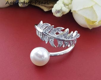 zircon sterling silver ring setting, adjustable ring mounting, leaf pattern,Jewelry DIY, gift DIY, only the setting without pearl
