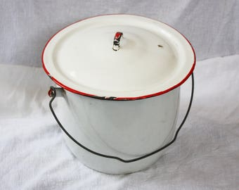 Vintage Red and White Enamel Ware Pail with Lid